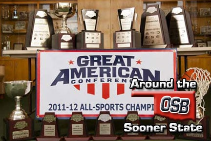 Picture of GAC Trophies, courtesy SWOSU Sports Info.
