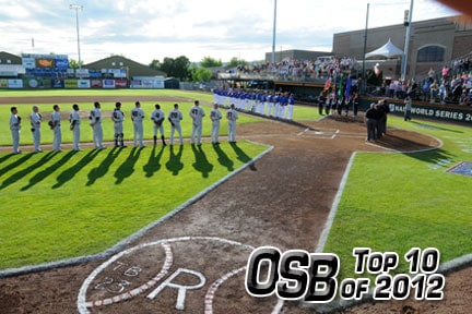 Rogers State vs. Tennessee Wesleyan, June 1, 2012, NAIA World Series.  Photo provided by RSU, courtesy Lewiston Tribune.