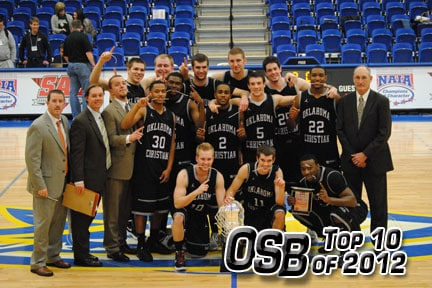 Oklahoma Christian celebrates its first SAC tournament title. / Photo provided by OC Sports Information.
