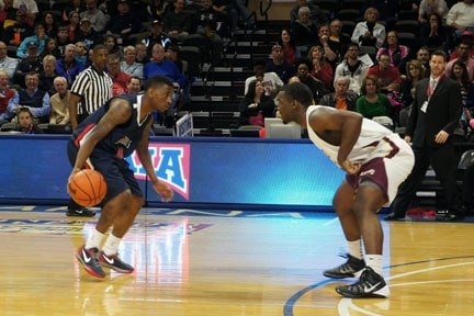 St. Gregory's junior Marty Wilkerson looks to score Saturday at the NAIA Division I National Championship. The No. 18-ranked Cavaliers advanced to the Fab Four with a dramatic 84-82 win over No. 9 Freed-Hardeman (Tenn.). Wilkerson scored 32 points in the second half. (Photo by Brad Collins, St. Gregory's Sports Information)