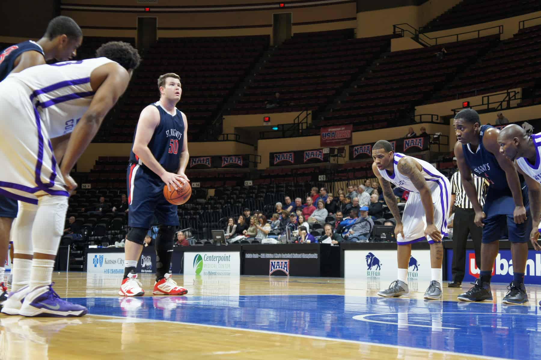 St. Gregory's senior Brock Vorwald shoots a free throw Thursday at the NAIA Division I National Championship. The No. 18-ranked Cavaliers advanced to the second round with an 84-69 win over No. 15 Wiley (Texas). (Photo by Brad Collins, St. Gregory's Sports Information)