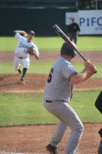 OBU ace Julian Merryweather pitches to Cody Riley, who would reach on a single, then score the winning run.  Photo courtesy OKWU Sports Info.