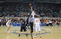 Class B state title game vs. Lookeba-Sickles, March 2014. Photo by Brent Lansden.