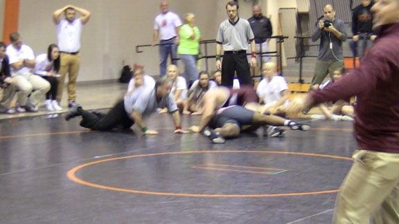 Perry's Garrett Beier pins Dorian Fagan to win the Class 3A Dual State Wrestling Tournament in Cushing. OSN Photo.