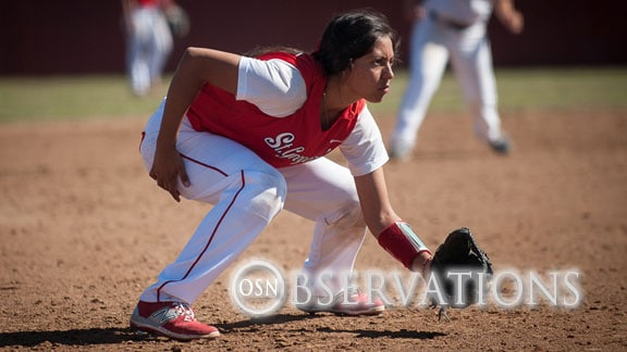 St. Gregory's infielder Maria Mercado Contreras. The Cavs are No. 7 in the NAIA and are 19-3. Photo courtesy SGU Sports Info.