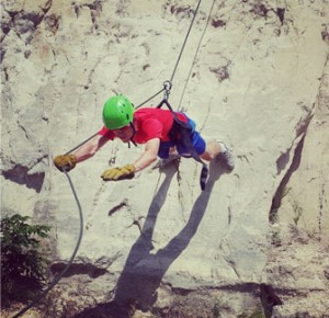 Hollowell on the 60-foot drop at FCA Camp.