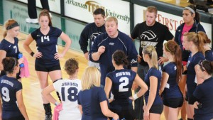 """""""Coach Bo"""" Pagliasotti address the huddle at a SWOSU volleyball game in 2011. Photo provided by SWOSU Sports Info."""