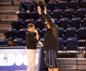 The only head coaches in SWOSU volleyball history: Josh Collins and Bo Pagliasotti. Photo courtesy SWOSU Sports Info.