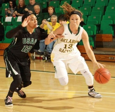Oklahoma Baptist's Charity Fowler (13) had more than 15 ppg and 6 rpg in her senior year. Photo courtesy OBU Sports Info.