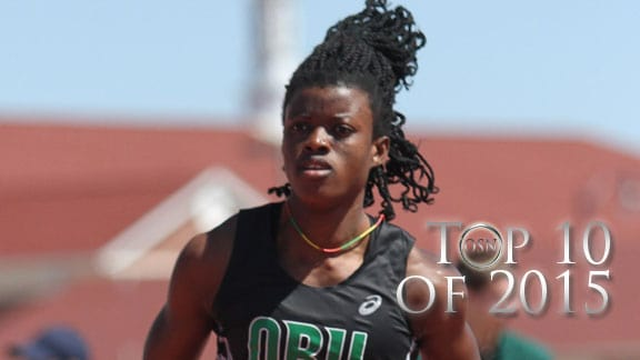 Oklahoma Baptist's Elizabeth Dadzie earned All-America honors four times in the NAIA national meet. Photo courtesy OBU Sports Info.