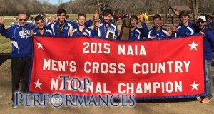 Oklahoma City men's cross-country team won the program's third consecutive national championship in 2015. Photo courtesy OCU Sports Info.