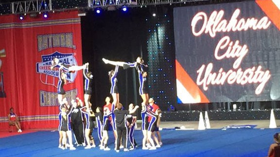 OCU Cheer team is in first place in the NAIA Small Performance Coed category heading into Friday in Daytona, Fla. Photo by Jodi McWilliams.