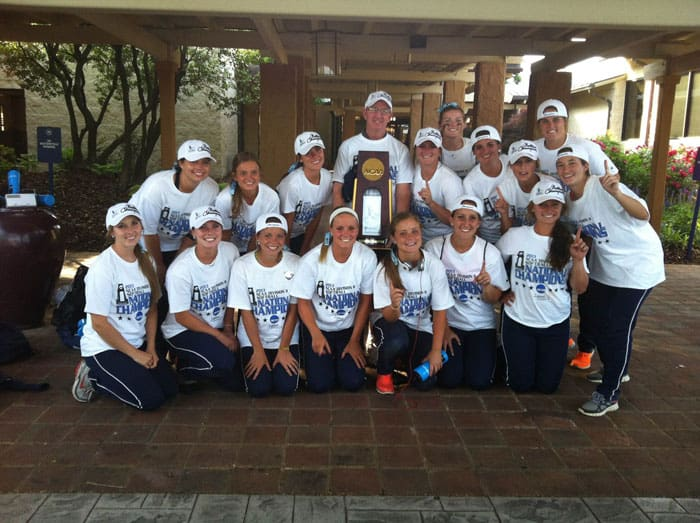 Kirk celebrates with the 2013 national championship softball team. Photo courtesy UCO Sports Info.