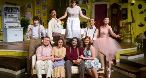 Caitlin Cullison (upper row, center) with the cast of Oklahoma Baptist's presentation of You Can't Take It With You. Photo credit: Jeremy Scott.