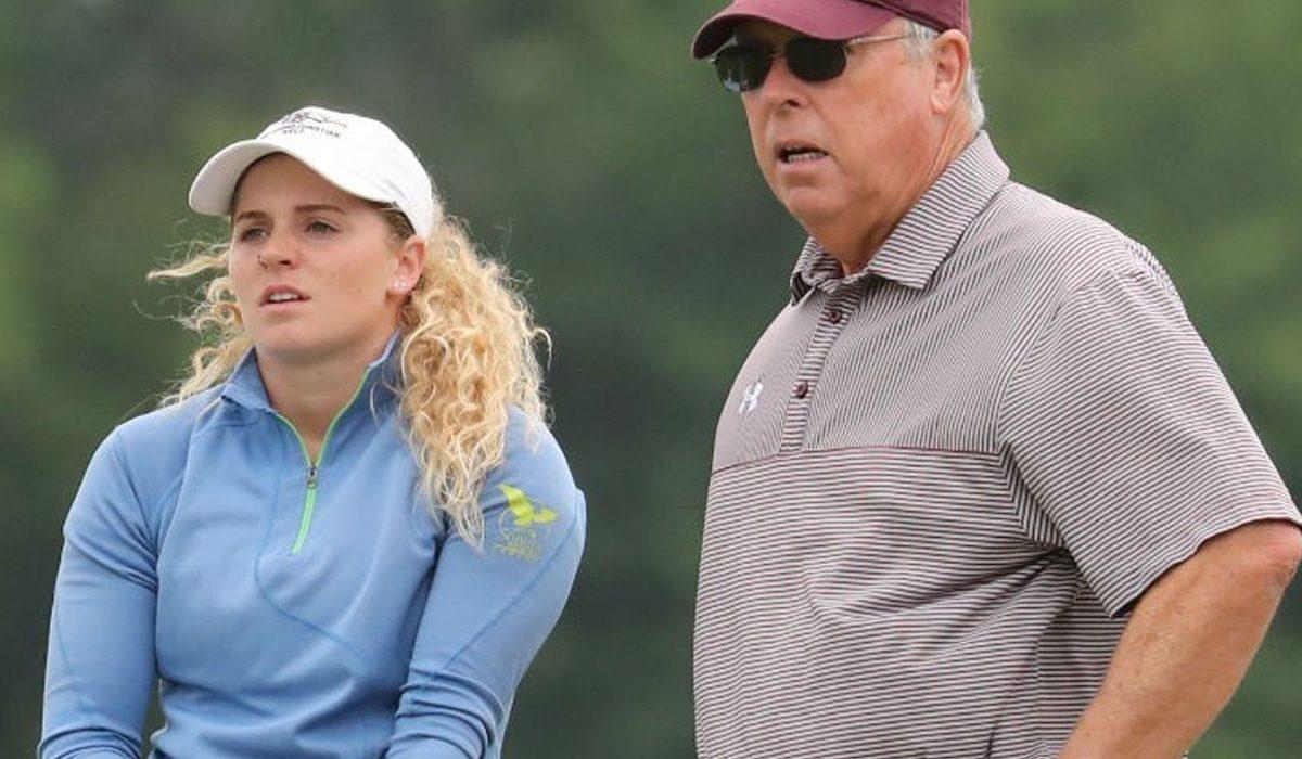 Oklahoma Christian's Abigail Rigsby with coach Greg Lynn. Photo courtesy OC Sports Info.