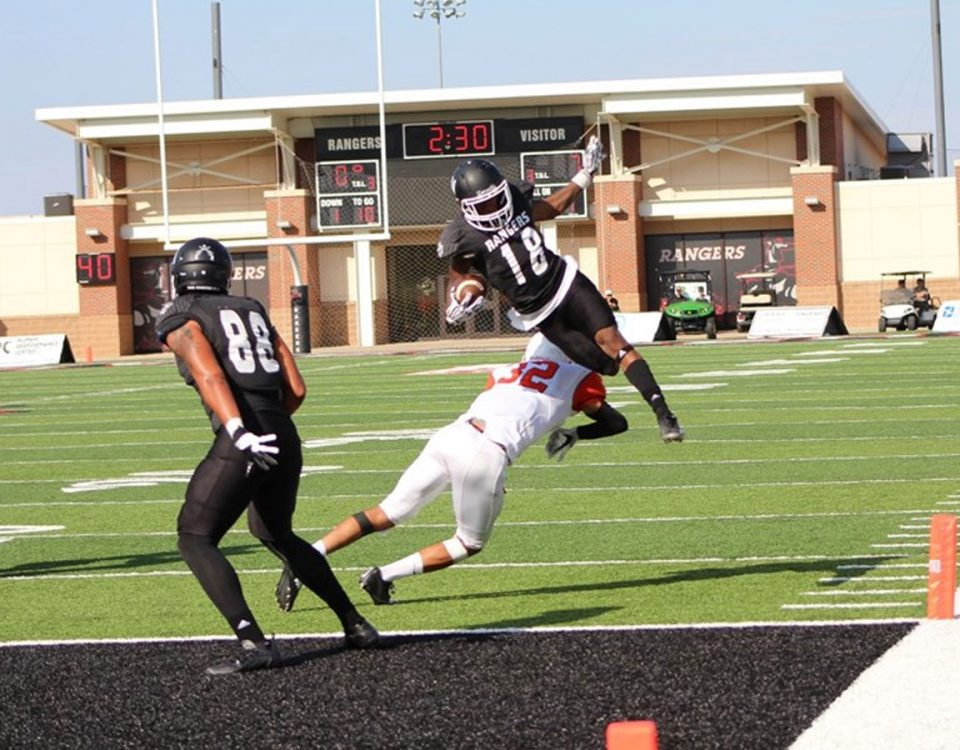 Northwestern's Horatio Smith leaps toward the end zone in the 2016 game vs. East Central. Photo courtesy NWOSU Sports Info.